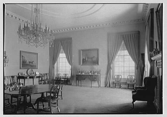 Marshall Field, residence in Huntington, Long Island, New York. North windows and wall, dining room