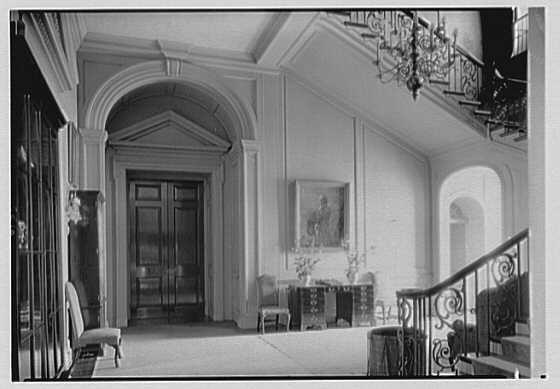 Marshall Field, residence in Huntington, Long Island, New York. Stair hall, picture and table II