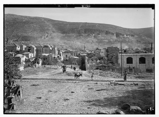 Palestine events. The earthquake of July 11, 1927. Nablus in a ruined state. General view of the town showing damage done