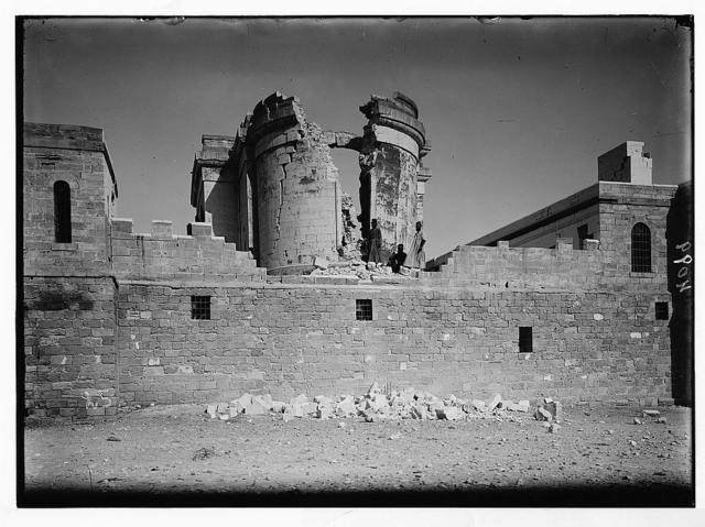 Palestine events. The earthquake of July 11, 1927. Shattered remains of St. John's Convent at the Jordan. A complete ruin