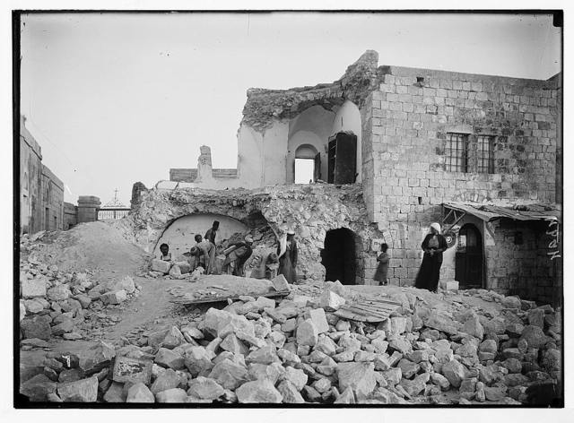 Palestine events. The earthquake of July 11, 1927. Wrecked dwelling house on Olivet. In which three people were killed
