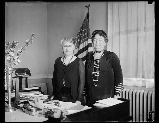 Planning for D.A.R. Convention in Washington next month. Mrs. Alfred J. Brosseau, (left) President General of the Daughters of the American Revolution and Mrs. Rhett Goode, Chairman of the Program Committee, snapped at the headquarters in Washington today where they are getting things in shape for the annual convention which will open on May, 18
