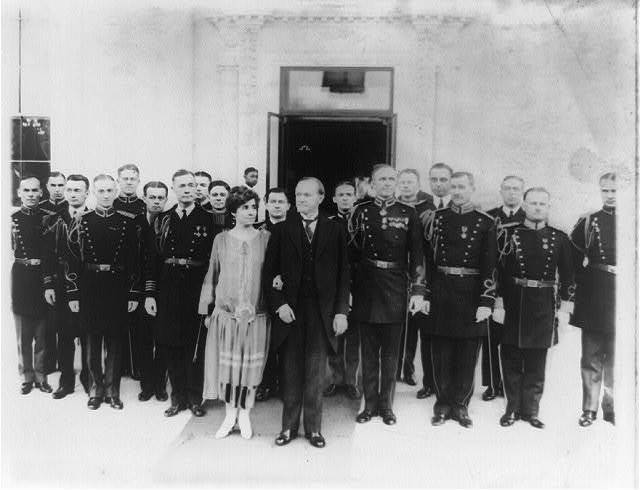Pres. and Mrs. Calvin Coolidge with their naval and military aides