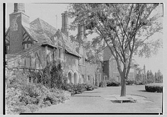 Robert Law, Jr., residence in Portchester, New York. Sharp view of house with tree toward south from nearer wall