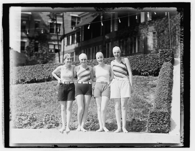 [Snapped at Wardman Pool, Left to right: Hermine Wittgenstein, Lillian Kahn, Mayone Blumefeld, Rosalie Weinberg,] 7/14/1927