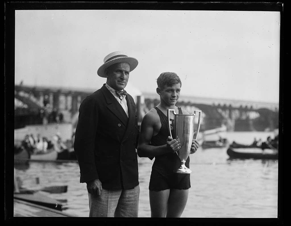 Swimmer with award cup. Washington, D.C.