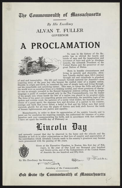 The commonwealth of Massachusetts by his Excellency Alvan T. Fuller Governor. A Proclamation.