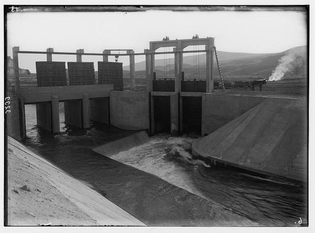 The Palestine Electric Corporation power plant. The P.E.C. sluice gates controlling water in the Jordan Canal.