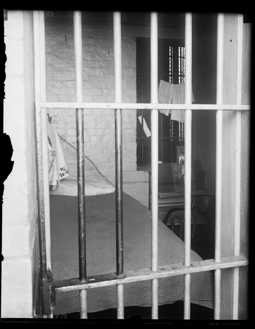 What Harry Sinclair may face. This is a typical cell in the District of Columbia jail and probably the one that will be assigned to Harry F. Sinclair, millionaire oil magnate if he is finally sentenced for contempt of the Senate. Justice Hitz of the District of Columbia Supreme Court was to have passed sentence today, April 11, but it was deferred for 30 days