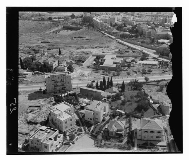 [Aerial view, Jerusalem: Rehavia neighborhood and Mamilla Cemetery and Pool, viewed from west]