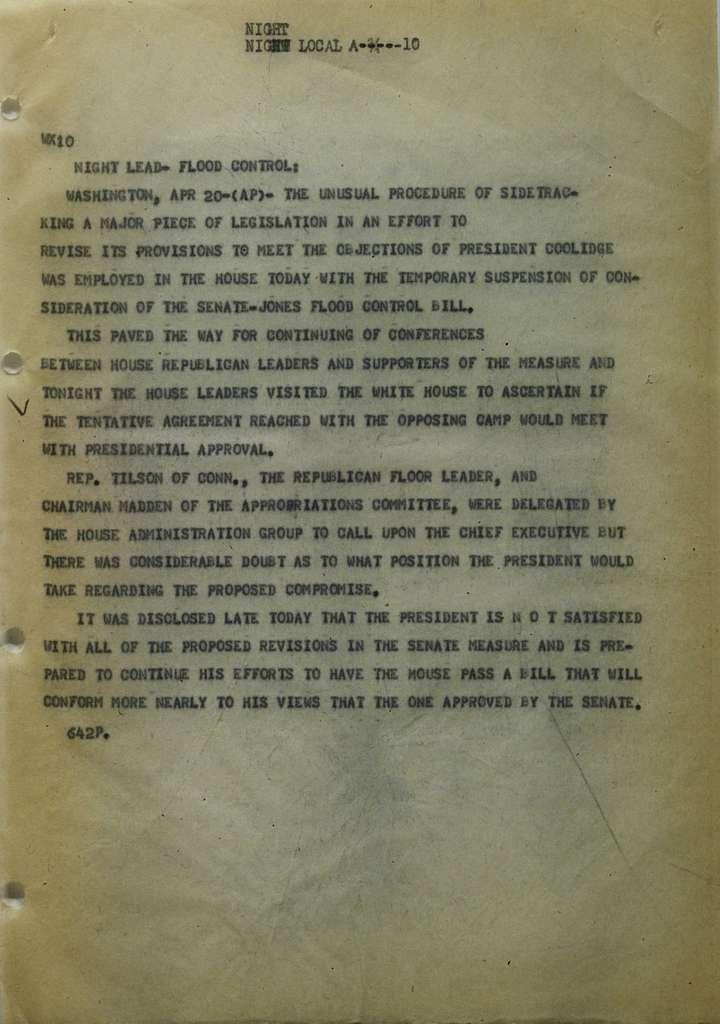 Associated Press, Washington, D.C., Bureau News Dispatches: 1928, Apr. 11-20