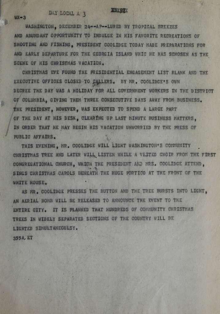 Associated Press, Washington, D.C., Bureau News Dispatches: 1928, Dec. 21-31