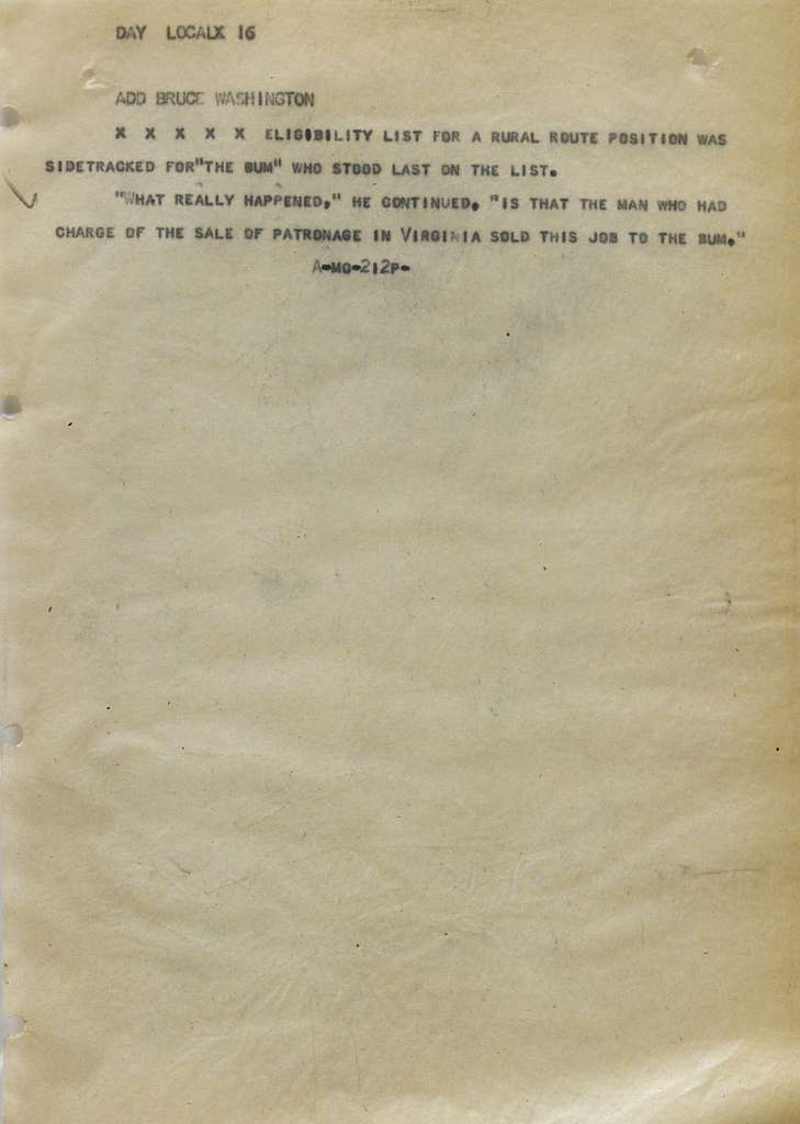 Associated Press, Washington, D.C., Bureau News Dispatches: 1928, Jan. 21-31