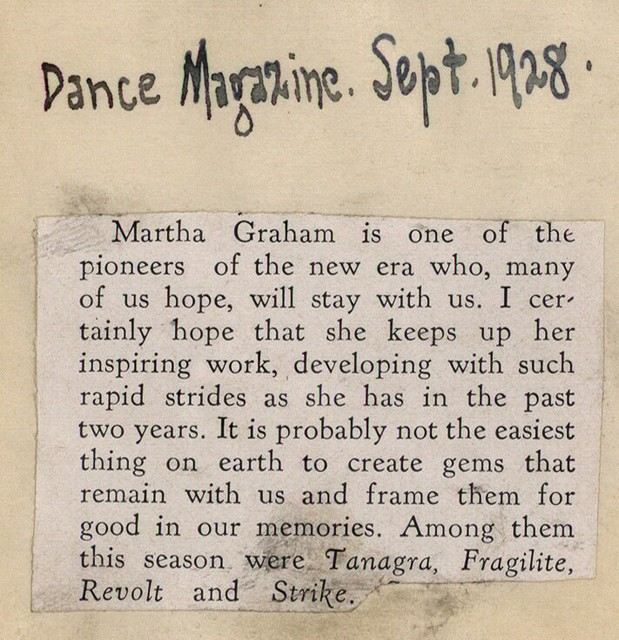 [ Commentary on Martha Graham]