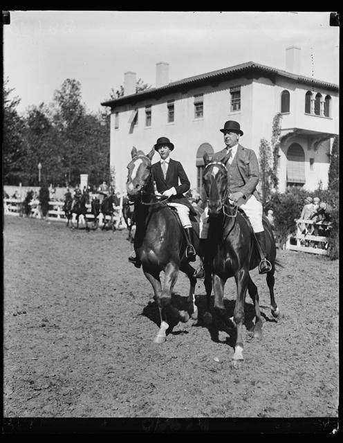 Dwight Davis and daughter on horseback