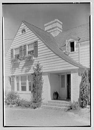 Elisha Dyer, residence in Brookville, Long Island. Front view entrance detail