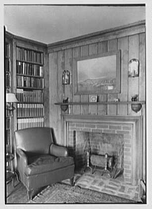Elisha Dyer, residence in Brookville, Long Island. Library fireplace