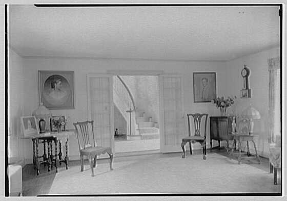 Elisha Dyer, residence in Brookville, Long Island. Living room, toward hall