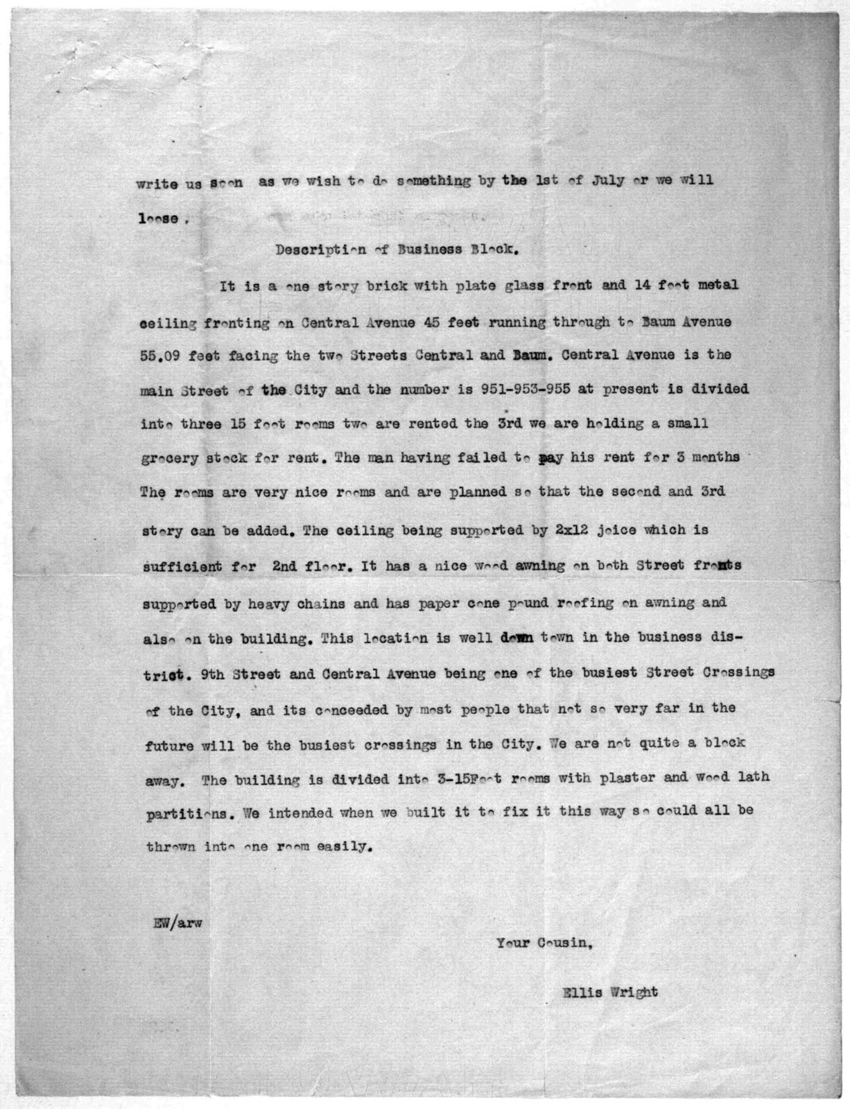 Family Papers:  Correspondence--Wright, Ellis, 1928-1929, 1939-1944