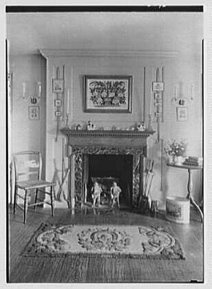 Geraldyn L. Redmond, residence in Brookville, Long Island, New York. Detail of bedroom fireplace