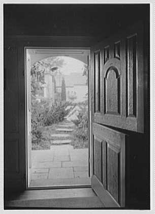 Geraldyn L. Redmond, residence in Brookville, Long Island, New York. View out of dutch door