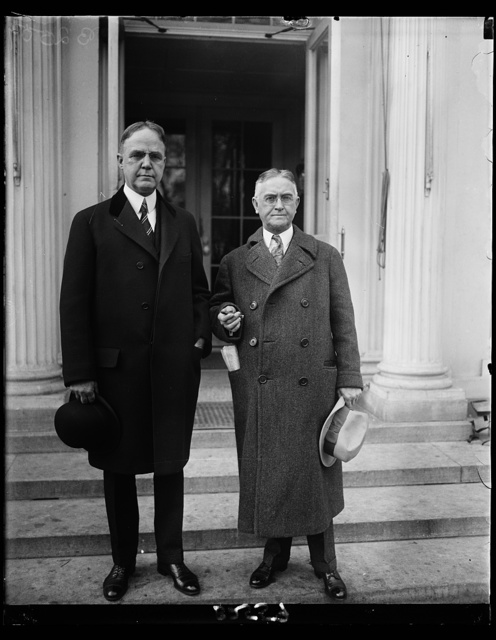Governor of Nebraska is interesting caller at White House. Governor Adam McMullen of Nebraska, (right) called on President Coolidge at the White House today with Senator Robert B. Howell of Nebraska. Governor McMullen says that Nebraska will go strong for any presidential candidate who will help the farmer