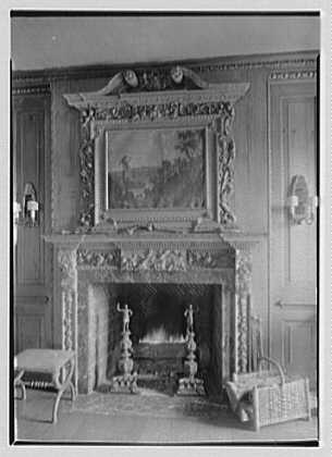 Harry F. Knight, residence in St. Louis, Missouri. Detail library fireplace