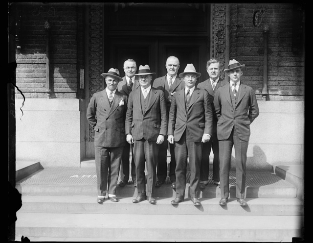 Leaders of the American Legion meet in Washington to talk national defense. The National Defense Committee of the American Legion met in Washington today to consider the national defense measures now before congress. In the photograph, left to right: (front row) Col. William G. Mitchell of Virginia; Col. Charles B. Robbins, Assistant Secretary of War; Brig. Gen. Roy Hoffman of Oklahoma; chairman; and Brig. Gen. Albert L. Cox of North Carolina.. Back Row, left to right: David L. Shillinglow of Chicago; Dr. C.V. Spour of Benton Harbor, Mich.; and John Thomas Taylor, Vice Chairman of the Legion's National Legislative Committee