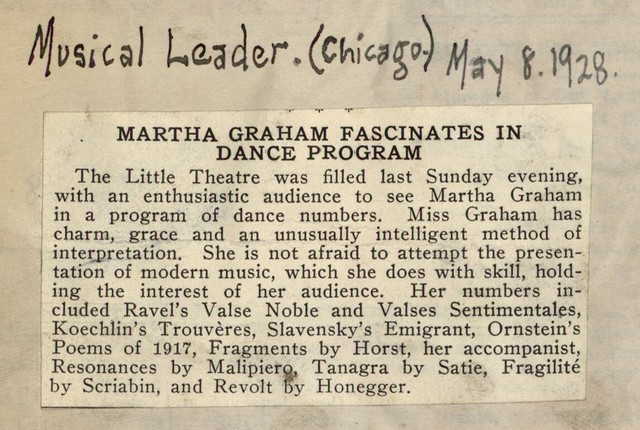 Martha Graham Fascinates in Dance Program