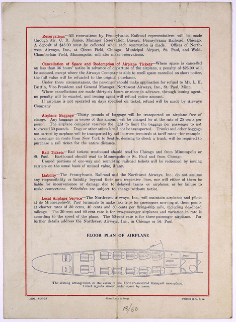 Rail passenger service via Pennsylvania railroad in connection with rail passenger service between Chicago and Minneapolis-St. Paul effective September 1, 1928. Northwest airways, Inc. and transcontinental air transport, Inc. in connection with