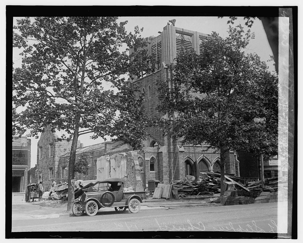 St. Steven's Church being raised