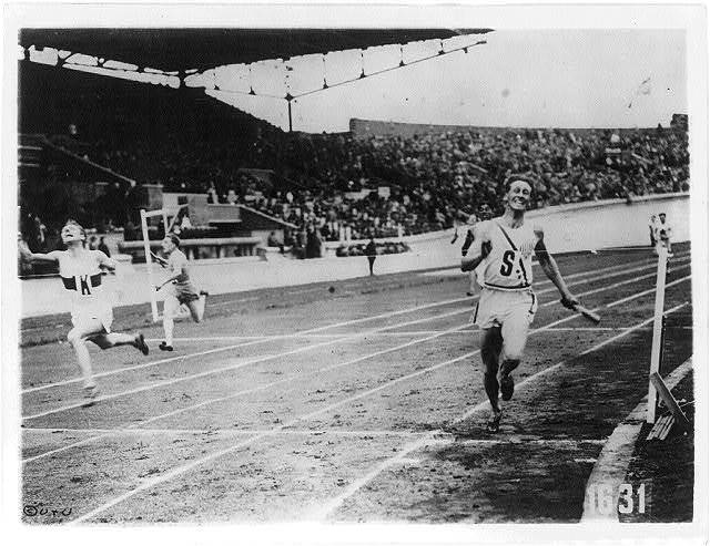 [The finish of the 400 meter relay at the 1928 Olympic Games, Amsterdam - won by U.S.]