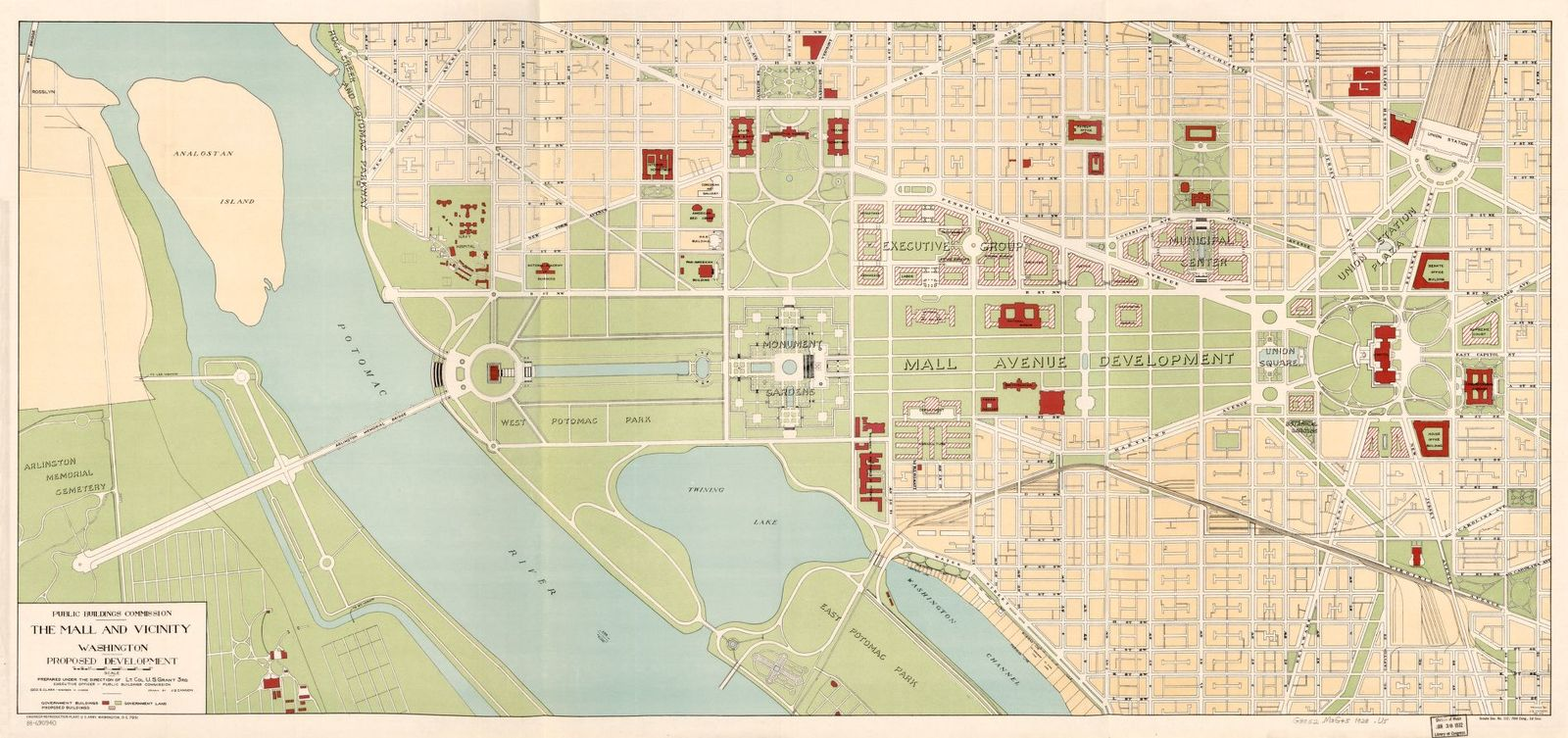 The Mall and vicinity, Washington, proposed development /