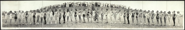 [Third International Pageant of Pulchritude and Ninth Annual Bathing Girl Revue, view with arms up, Galveston, Texas]