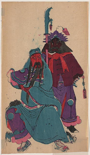 [Wu Ti, or Kuan Ti, Chinese war god, and his squire Chou-tsang]