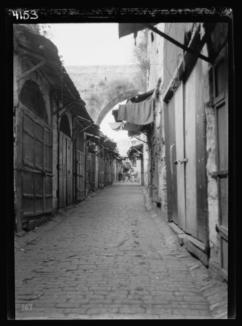 Arab protest delegations, demonstrations and strikes against British policy in Palestine (subsequent to the foregoing disturbances [1929 riots]). David Street. A deserted scene. Taken during a general Arab protest strike