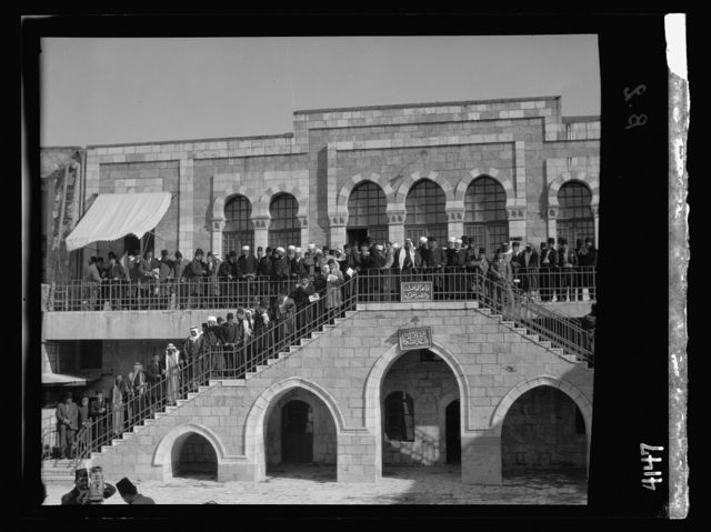 Arab protest delegations, demonstrations and strikes against British policy in Palestine (subsequent to the foregoing disturbances [1929 riots]). Arab meeting at the Rawdat el Maaref School on site of the Tower of Antonia