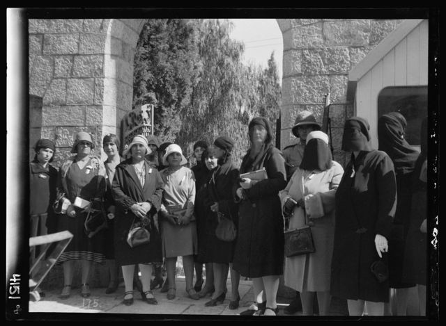Arab protest delegations, demonstrations and strikes against British policy in Palestine (subsequent to the foregoing disturbances [1929 riots]). Arab womens' delegation to the High Commissioner. Taken at the entrance of residency
