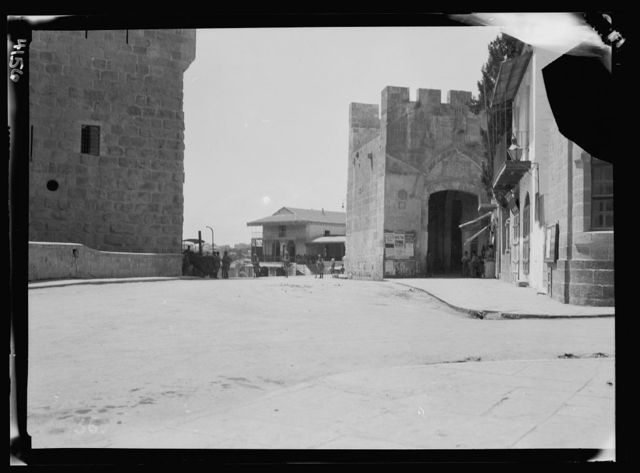 Arab protest delegations, demonstrations and strikes against British policy in Palestine (subsequent to the foregoing disturbances [1929 riots]). Jaffa Gate at noonday without a soul in sight. Except the distant chain of guards