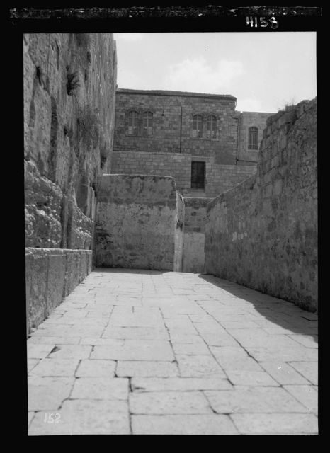 Arab protest delegations, demonstrations and strikes against British policy in Palestine (subsequent to the foregoing disturbances [1929 riots]). Western wall of the Temple showing new entrance at south end, opened by the Moslems [i.e., Muslims]