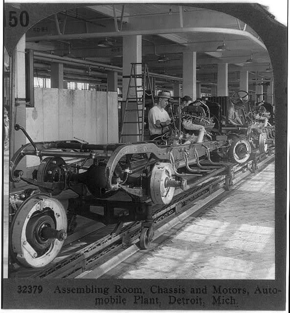 Assembling room, chassis and motors, auto plant, Detroit, Mich.