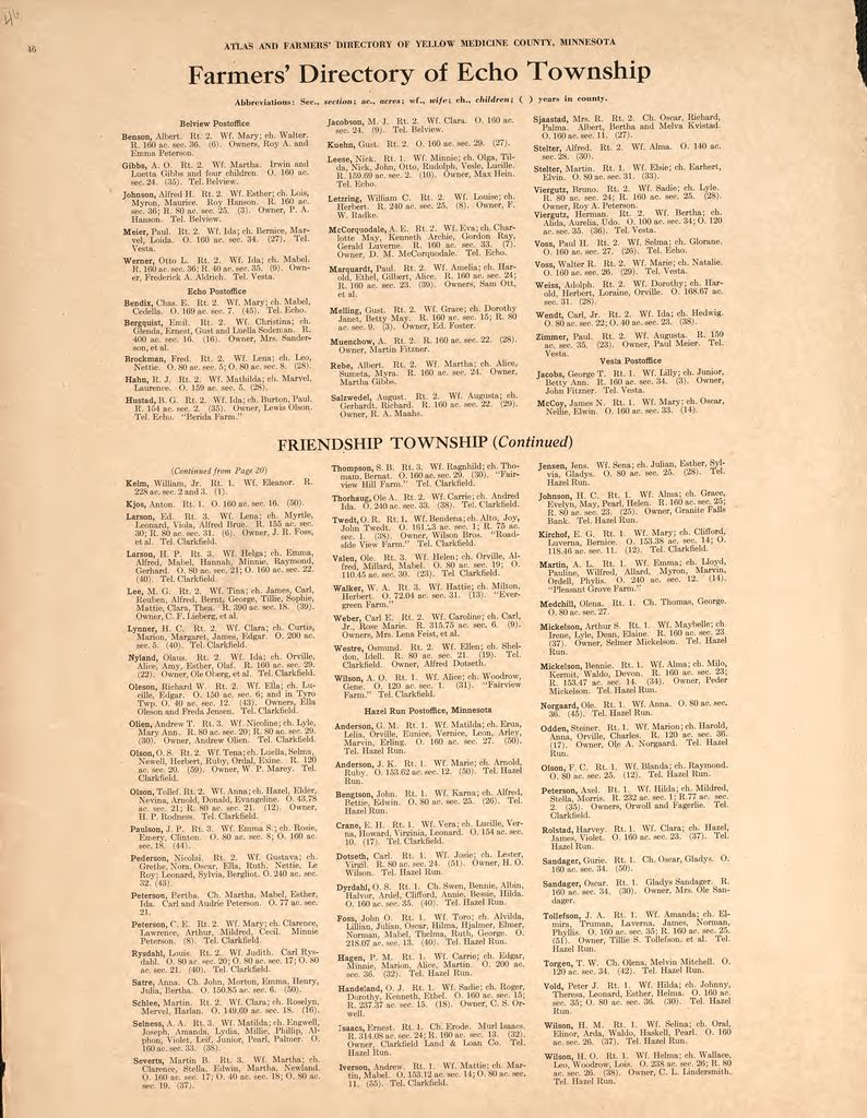 Atlas and farmers' directory of Yellow Medicine County, Minnesota : containing plats of all townships with owners' names, also an outline map of the county and state map of Minnesota : compiled from latest data on record.