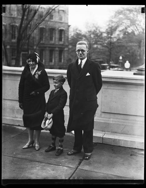 Baby member of Congress and family. The youngest member of the 71st Congress which convened today Rep. Fred A. Hartley, Jr., of New Jersey. The new [...], who is 26 years old, is shown with his wife and son Allan, age 7