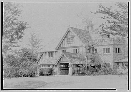 Clarence McK. Lewis, Skylands Farm, residence in Sterlington, New York. Service end of east facade