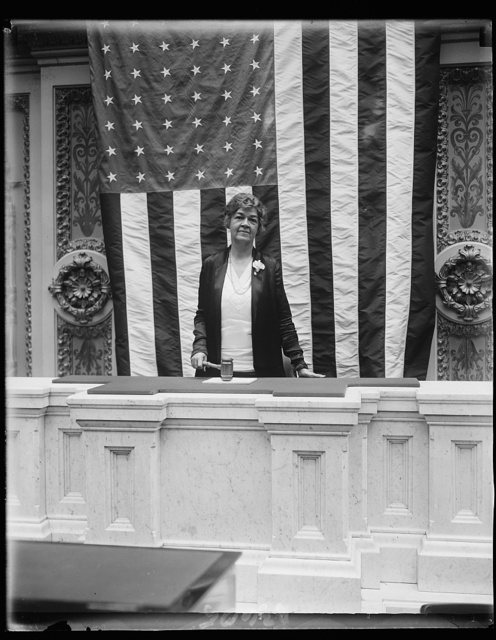 Congresswoman makes history. Mrs. Edith Nourse Rogers, Representative from Massachusetts, made history at the House of Representatives yesterday when she opened and closed a four-minute session of the House. Several other women have occupied the chair in the past but Mrs. Rogers is the first of her sex to ever formally open and close the session