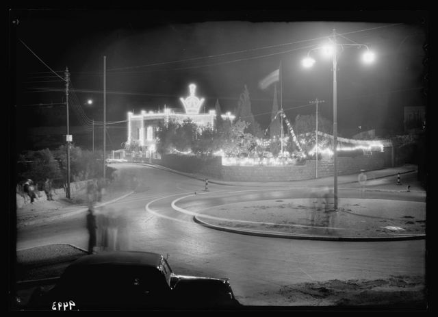 Iranian consulate, night illuminations, April 25, 1939. Celebration of King's birthday & marriage of crown prince