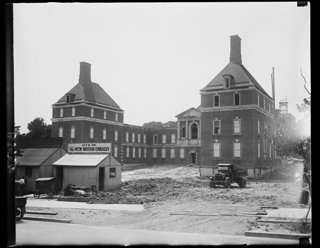 John Bull's new U.S. Home. The new British Embassy as it looks today. Work on the beautiful buildings is nearing completion. The location is ideal: on aristocratic Massachusetts Avenue, next to the Naval Observatory grounds