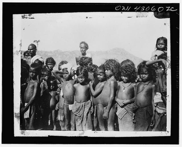 League of Nations Malaria Investigation Committee, Madras (vicinity), India. Children of the workers from the firewood section just above Madras ready to be spleened. The spleen rate is fourteen percent