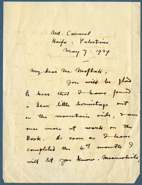 Letter from Ernest Newlandsmith to Ragheb Moftah, May 7, 1929