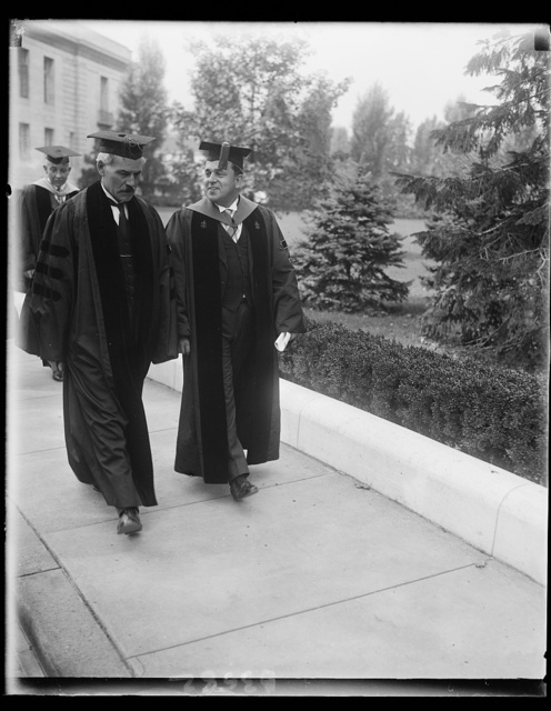 MacDonald receives honorary degree from George Washington University. Ramsey MacDonald with President Cloyd Hock Marvin of George Washington University after Great Britain's Prime Minister received an honorary degree of Doctor of Laws from the University